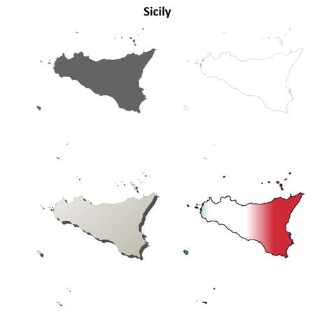 region sicilian: Sicily blank detailed outline map set