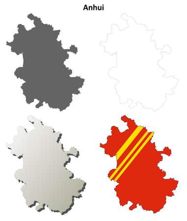 anhui: Anhui province blank detailed outline map set