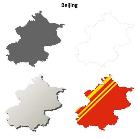 pekingese: Beijing municipality blank detailed outline map set