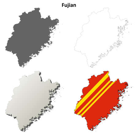 Fujian province blank detailed outline map set