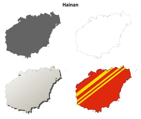 province: Hainan province blank detailed outline map set