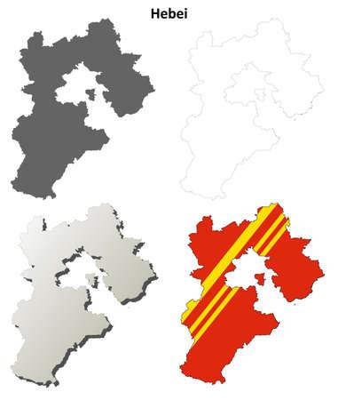 Hebei province blank detailed outline map set Illustration