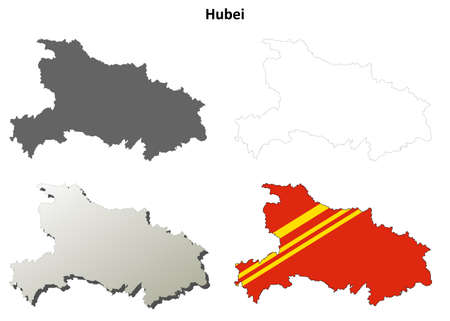 hubei province: Hubei province blank detailed outline map set