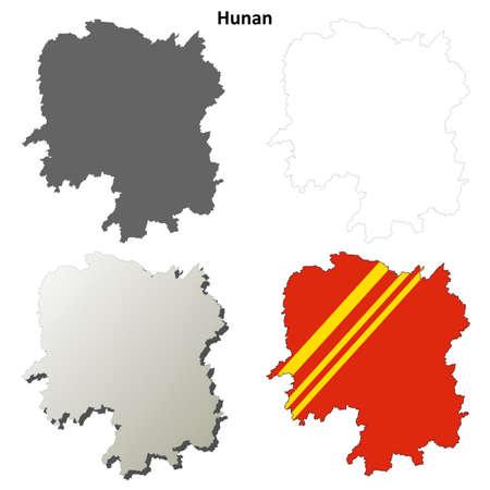 province: Hunan province blank detailed outline map set
