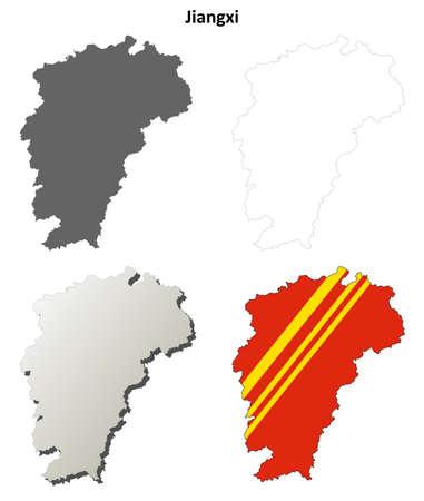 detailed: Jiangxi province blank detailed outline map set Illustration