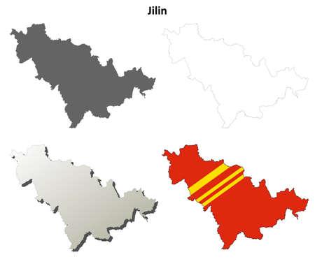 detailed: Jilin province blank detailed outline map set