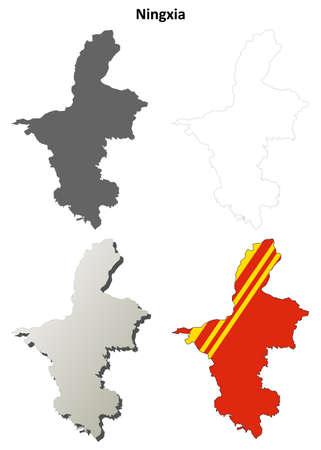 autonomia: Ningxia Hui mapa en blanco conjunto esquema detallado Vectores