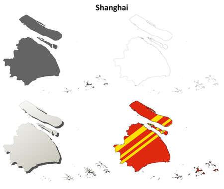 municipalit�: Shanghai municipality blank detailed outline map set Illustration