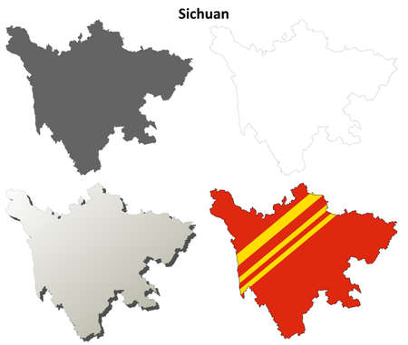 province: Sichuan province blank detailed outline map set