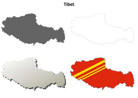mapa de china: Tibet mapa de contorno blanco set - versión en chino Vectores