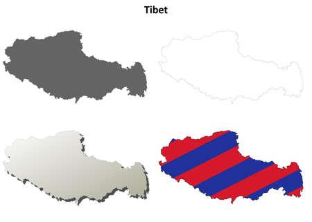 tibet: Tibet blank outline map set - Tibetan version
