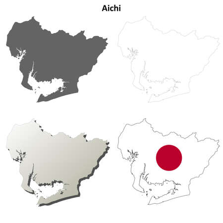 nippon: Aichi prefecture blank detailed outline map set Illustration