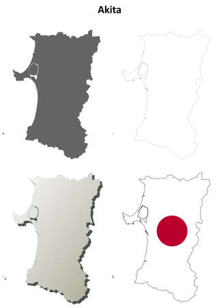 prefecture: Akita prefecture blank detailed outline map set Illustration