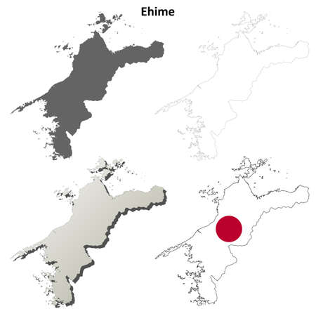 Ehime prefecture blank detailed outline map set