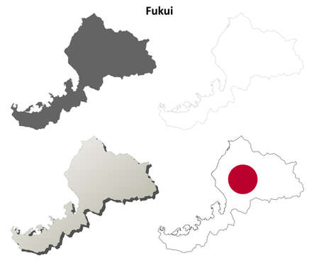 prefecture: Fukui prefecture blank detailed outline map set