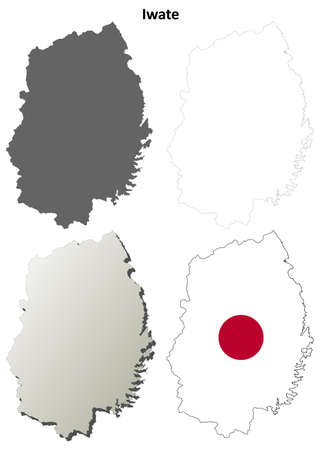 prefecture: Iwate prefecture blank detailed outline map set