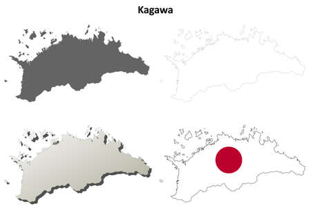 prefecture: Kagawa prefecture blank detailed outline map set Illustration