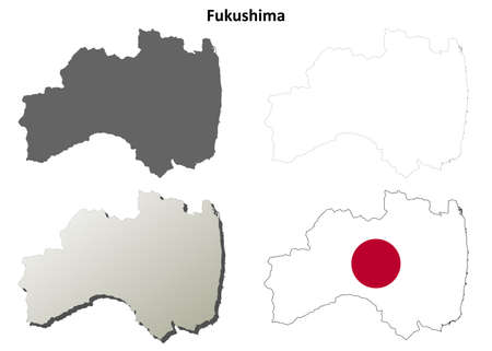 nippon: Fukushima prefecture blank detailed outline map set