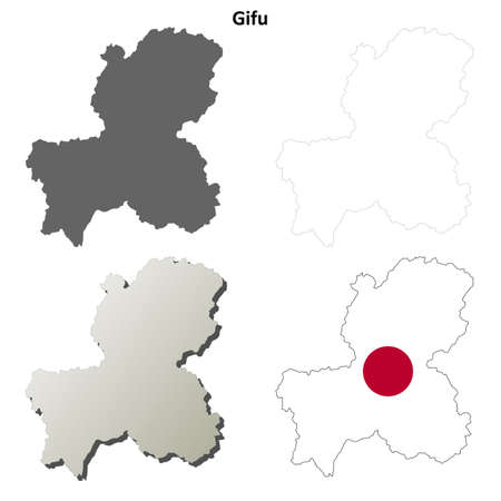 honshu: Gifu prefecture blank detailed outline map set
