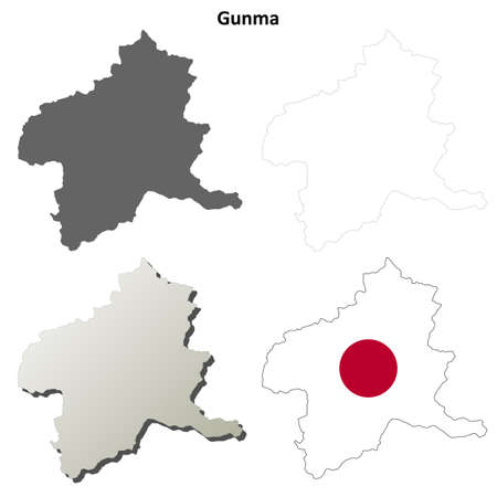 prefecture: Gunma prefecture blank detailed outline map set