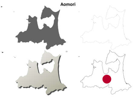 Aomori prefecture blank detailed outline map set