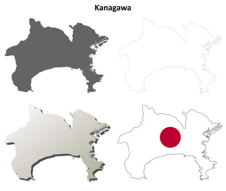 prefecture: Kanagawa prefecture blank detailed outline map set Illustration