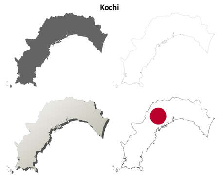 prefecture: Kochi prefecture blank detailed outline map set