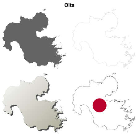 prefecture: Oita prefecture blank detailed outline map set
