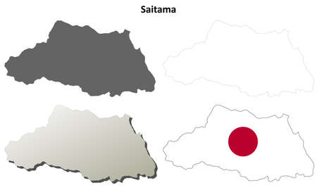 Saitama prefecture blank detailed outline map set