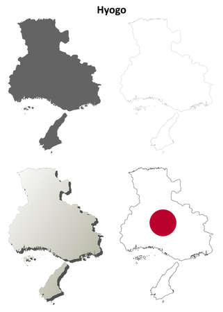 Hyogo prefecture blank detailed outline map set 일러스트