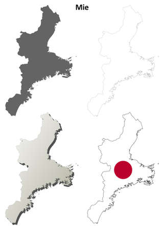tsu: Mie prefecture blank detailed outline map set