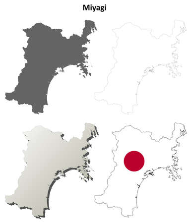 prefecture: Miyagi prefecture blank detailed outline map set