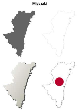 coastlines: Miyazaki prefecture blank detailed outline map set