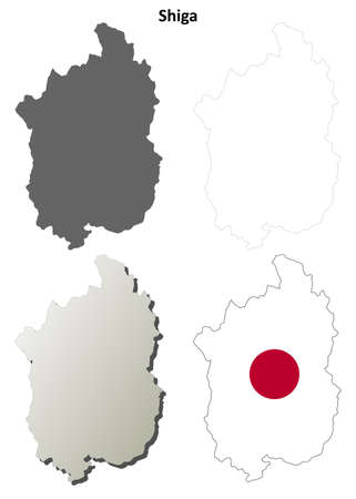 Shiga prefecture blank detailed outline map set