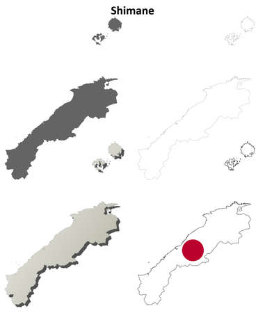 prefecture: Shimane prefecture blank detailed outline map set