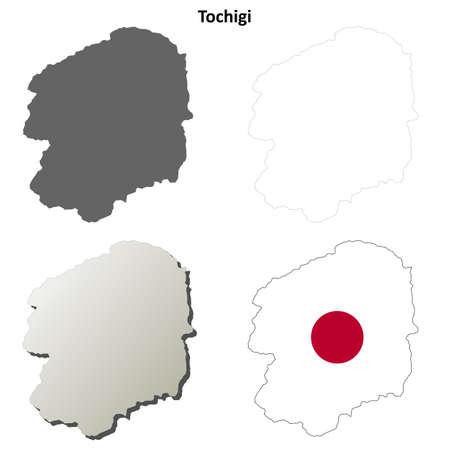 Tochigi prefecture blank detailed outline map set