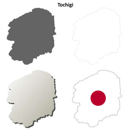 nippon: Tochigi prefecture blank detailed outline map set