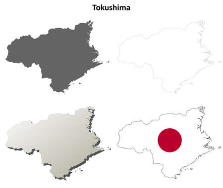prefecture: Tokushima prefecture blank detailed outline map set