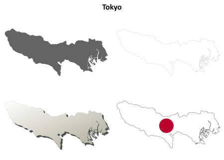 tokyo prefecture: Tokyo prefecture blank detailed outline map set Illustration