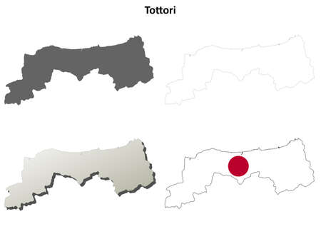prefecture: Tottori prefecture blank detailed outline map set