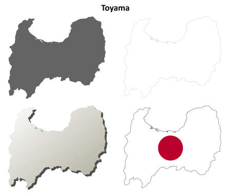 prefecture: Toyama prefecture blank detailed outline map set