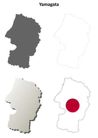 nippon: Yamagata prefecture blank detailed outline map set