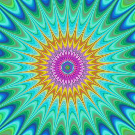 in curved: Abstract colorful concentric curved star fractal design Illustration
