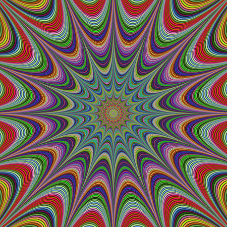 meditative: Abstract colorful concentric curved star fractal design Illustration