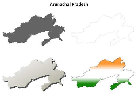 arunachal pradesh: Arunachal Pradesh blank detailed outline map set Illustration