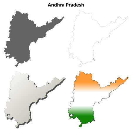 andhra: Andhra Pradesh blank detailed outline map set