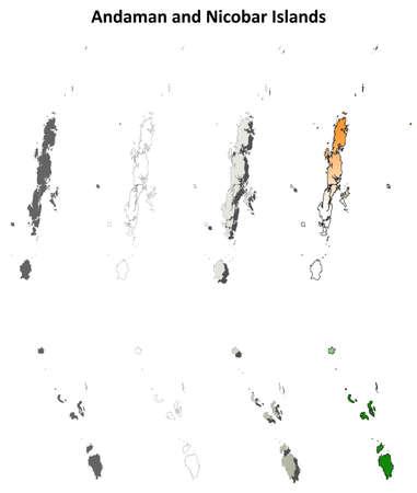 coastline: Andaman and Nicobar Islands blank detailed outline map set Illustration
