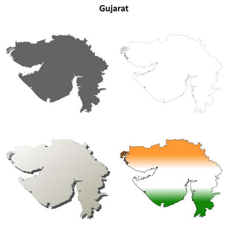 gujarat: Gujarat blank detailed vector outline map set