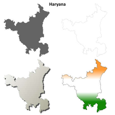 haryana: Haryana blank detailed vector outline map set