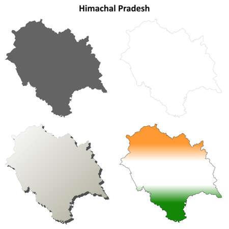 himachal pradesh: Himachal Pradesh blank detailed outline map set